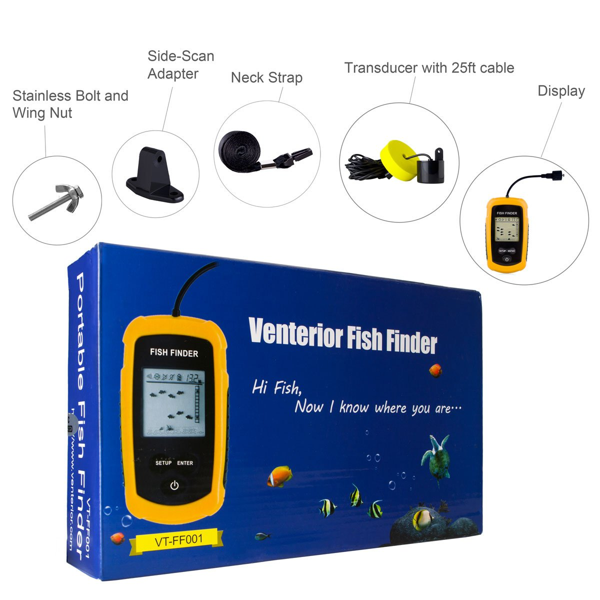 Venterior VT-FF001 Portable Fish Finder, Fishfinder with Wired Sonar Sensor Transducer and LCD Display by Venterior (Image #4)