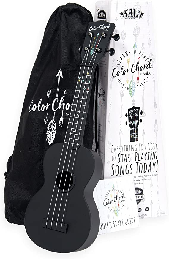 Official Kala Learn To Play Color Chord Ukulele Starter Kit for Beginners - includes a Color Chord Soprano Ukulele