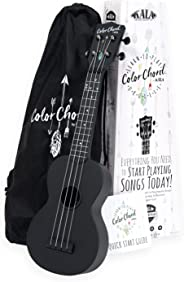 Official Kala Learn To Play Color Chord Ukulele Starter Kit for Beginners - includes a Color Chord Soprano Ukulele, logo tote bag, online lessons, tuner app, and booklet (KALA-LTP-SCC)