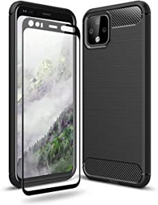 Olixar for Google Pixel 4 Case with Screen Protector - 360 Full Body Coverage Hard PC - Dual Layer Rugged Heavy Duty Cover - Shockproof Tempered Glass - Sentinel - Black