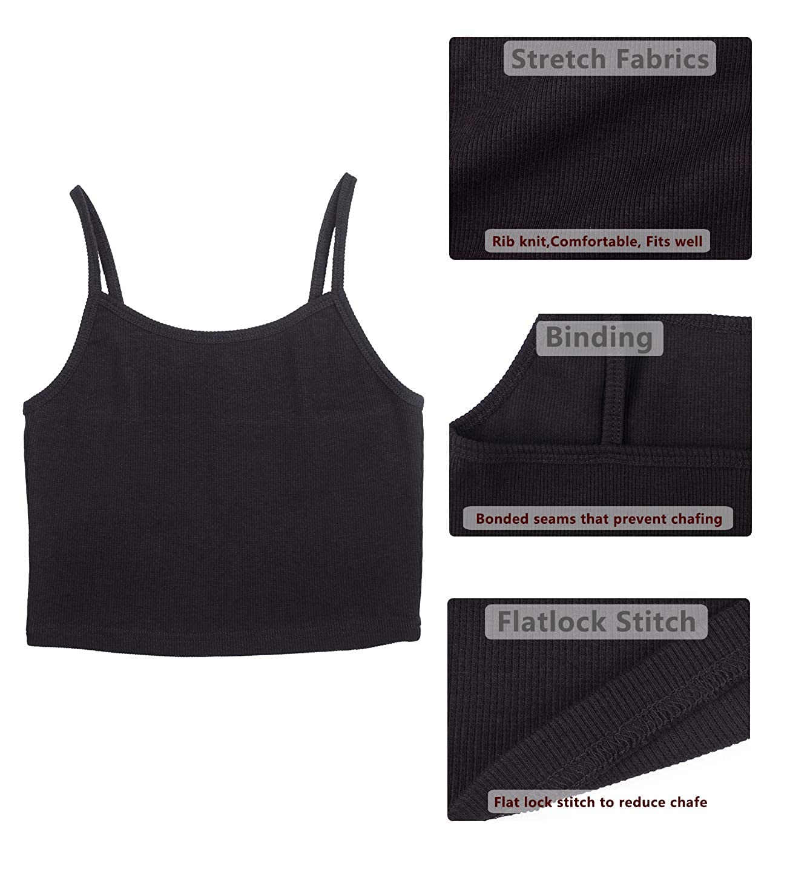168f75fb83607 Amazon.com  icyzone Spaghetti Strap Tank Crop Top - Sleeveless Open Back  Cotton Ribbed Knit Cami Shirts Women  Clothing
