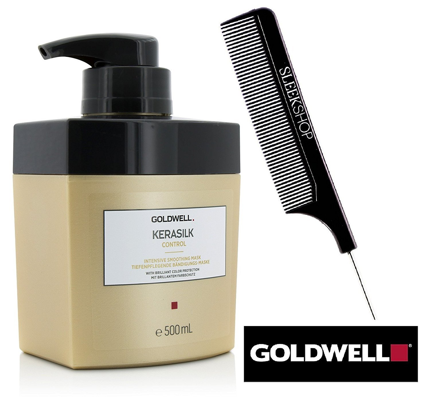 Goldwell Kerasilk CONTROL Intensive Smoothing Mask with brilliant color protection (with Sleek Steel Pin Tail Comb) (16.9 oz / 500 ml PRO SIZE)