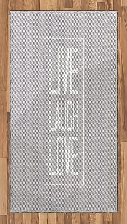 Amazon com: Ambesonne Live Laugh Love Area Rug, Greyscale