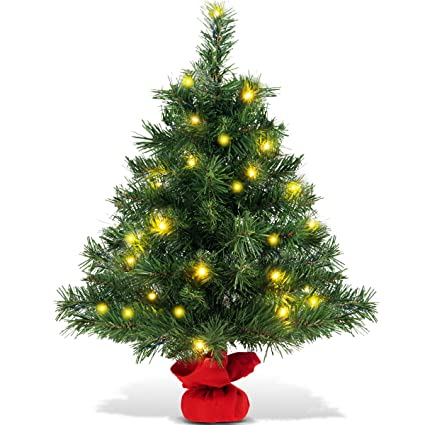 100% authentic 2a56b 240f6 GYMAX 2FT/ 60CM Table Top Christmas Tree, Pre Lit Desk Green Xmas Tree with  Base, Small Indoor Christmas Decoration and Gift