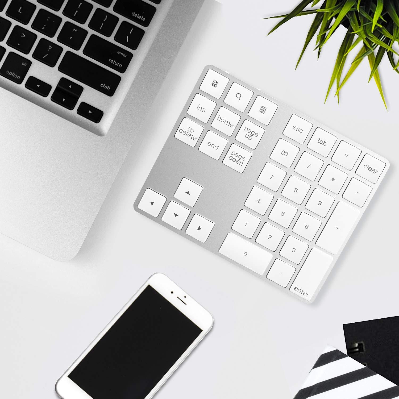 Rytaki Bluetooth 34-Tasten Ziffernblock tragbarer kabelloser schlanker aus Aluminium mit Mehreren Schnelltasten f/ür Laptop Windows Surface Pro Apple iMac MacBook iPad Android Tablett und Smartphone