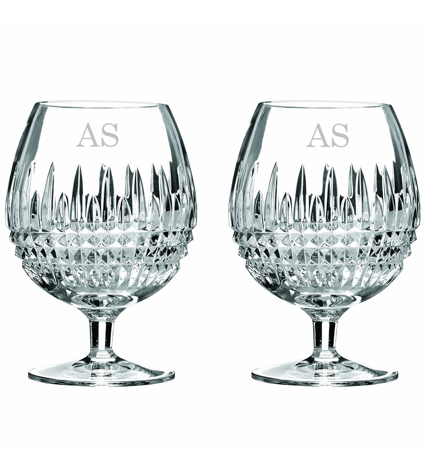Waterford Lismore Diamond 16oz Brandy Glasses Set of 2, Custom Glasses, Engraved Glass Set, Personalized Glassware