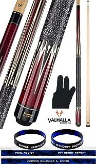 product image for Valhalla VA303 by Viking 2 Piece Pool Cue Stick Linen Wrap, Burgundy 16 Point HD Transfers, High Impact Ferrule, 3 Nickel Silver Rings 18-21 oz. Plus Billiard Glove & Bracelet