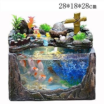 Humidificador Creativo pequeño Acuario del Acuario, Fuente rocosa Cascada Sala de Estar Paisaje Escritorio Adornos de Regalo (Color : B): Amazon.es: Hogar