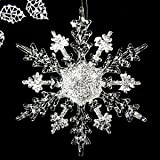 5 Pcs Clear Acrylic Glitter Christmas Snowflake Ornaments