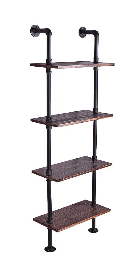 LOKKHAN 24 Inch Industrial Pipe Shelves,Wall Mounted Metal Pipe Wood  Shelf,Rustic Pipe Ladder Bookshelf Bookcase,DIY Open Pipe Shelving (4 Tier)