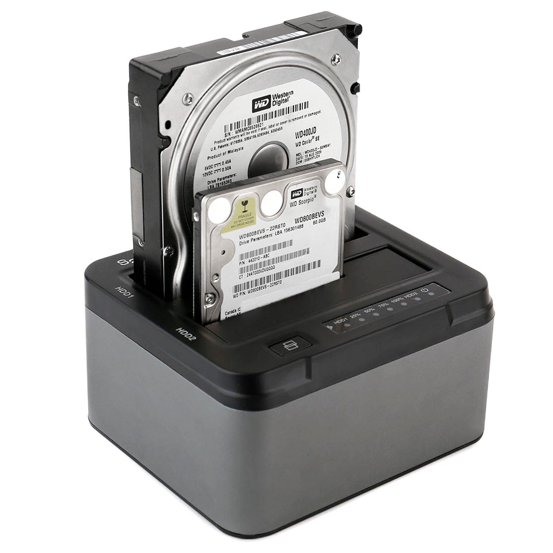 Spinido® Docking Station, Soporte para disco duro USB 3.0 Dual Bahías con función de Clon desconectado para 2,5 pulgadas y 3,5 pulgadas SATA HDD SDD (SATA I / II / III), Soporta 6 TB, Alimentación externo incluido (12V 4A), sin her