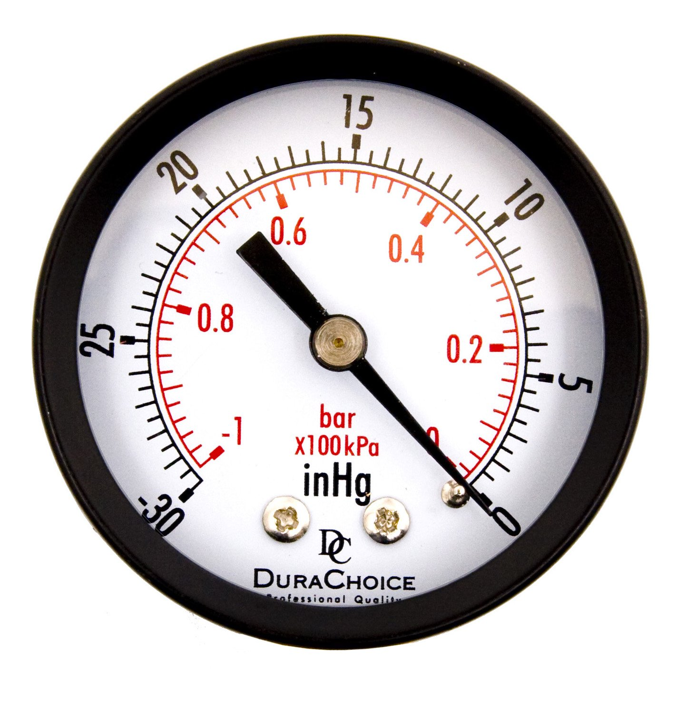 DuraChoice 2 Dial Utility Vacuum Pressure Gauge for Air Compressor Water Oil Gas 1 4 NPT Center Back Mount Black Steel Case 30HG 0PSI