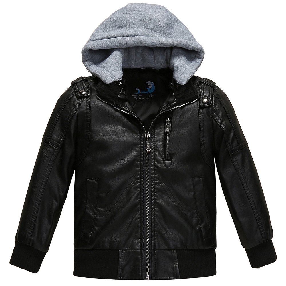 Budermmy Boys Removable Hood Faux Leather Jacket Outdoor Coats PY-32-P