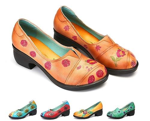 gracosy Mocasines Zapatos para Mujer de Cuero Calzado Tacón Medio de cuña de Punta Redonda Hechas ...