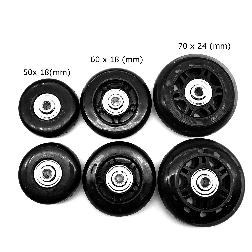 Mmei 1 Pair Replacement Wheels with 608zz Bearings for Luggage Suitcase Inline Outdoor Skate (70 mm x 24 mm)