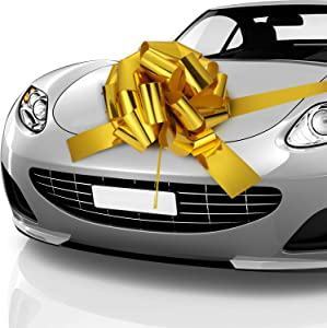 Car Bow Pull Bow Car Gift Wrapping Bow with 20 ft Car Ribbon for Car Decor Wedding New Houses Party Celebration (Gold, 20 Inch)