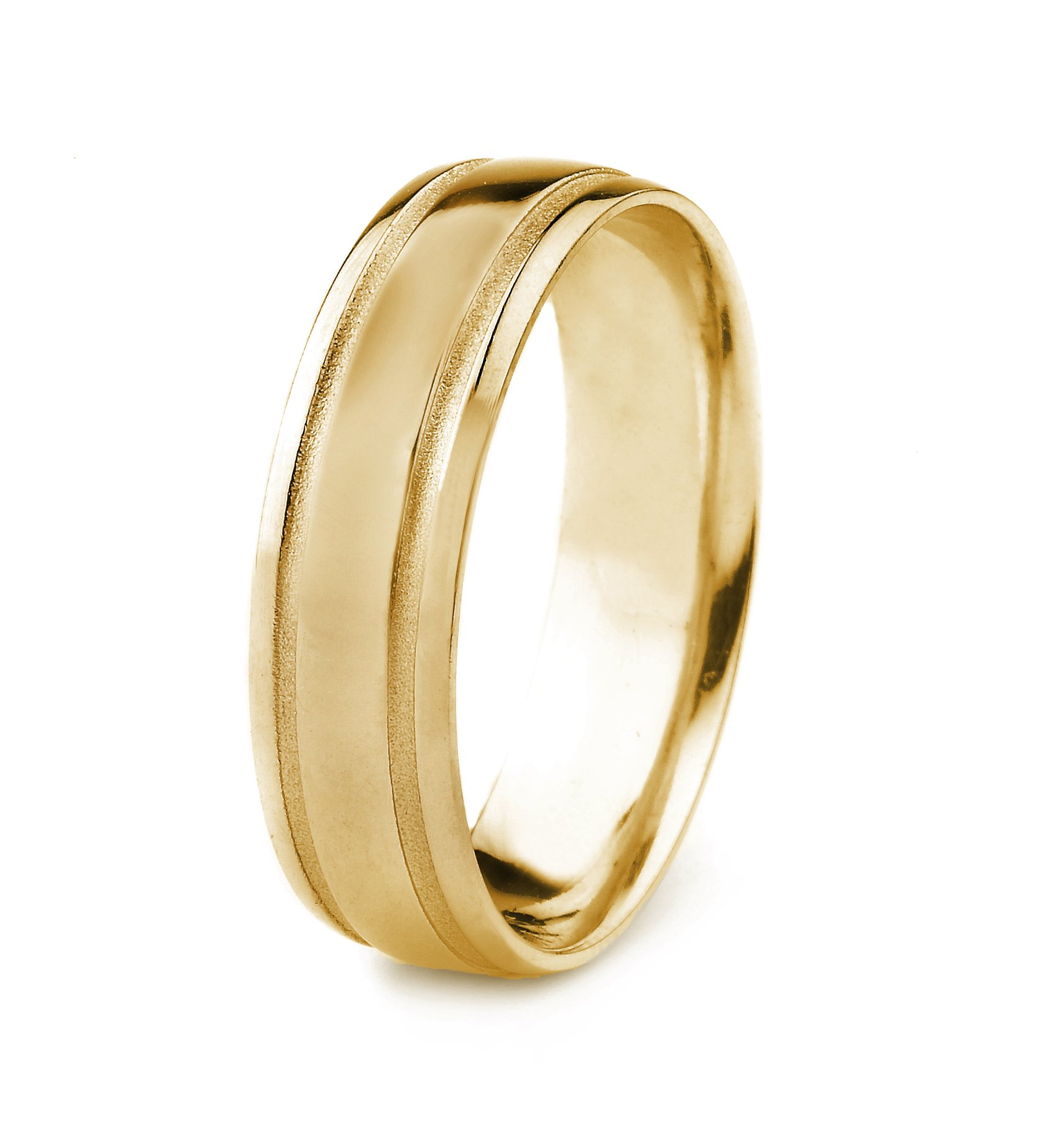 14k Gold Men's Wedding Band with Polished Finish and Parallel Stone Grooves (6mm)