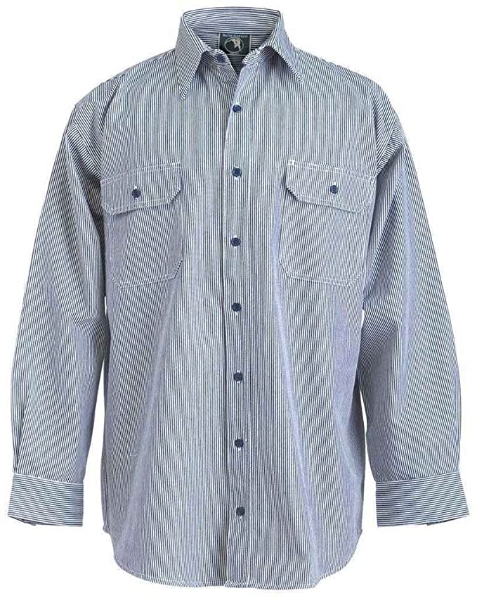 Men's Vintage Workwear – 1920s, 1930s, 1940s, 1950s Mens Berne Button Front Long - sleeve Logger Shirt Hickory Stripe $48.65 AT vintagedancer.com
