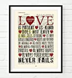 Vintage Bible Upcycled page verse scripture Love is Patient Love is Kind 1 Corinthians 13 Christian ART PRINT, UNFRAMED, dictionary wall & home decor poster, Wedding gift for her