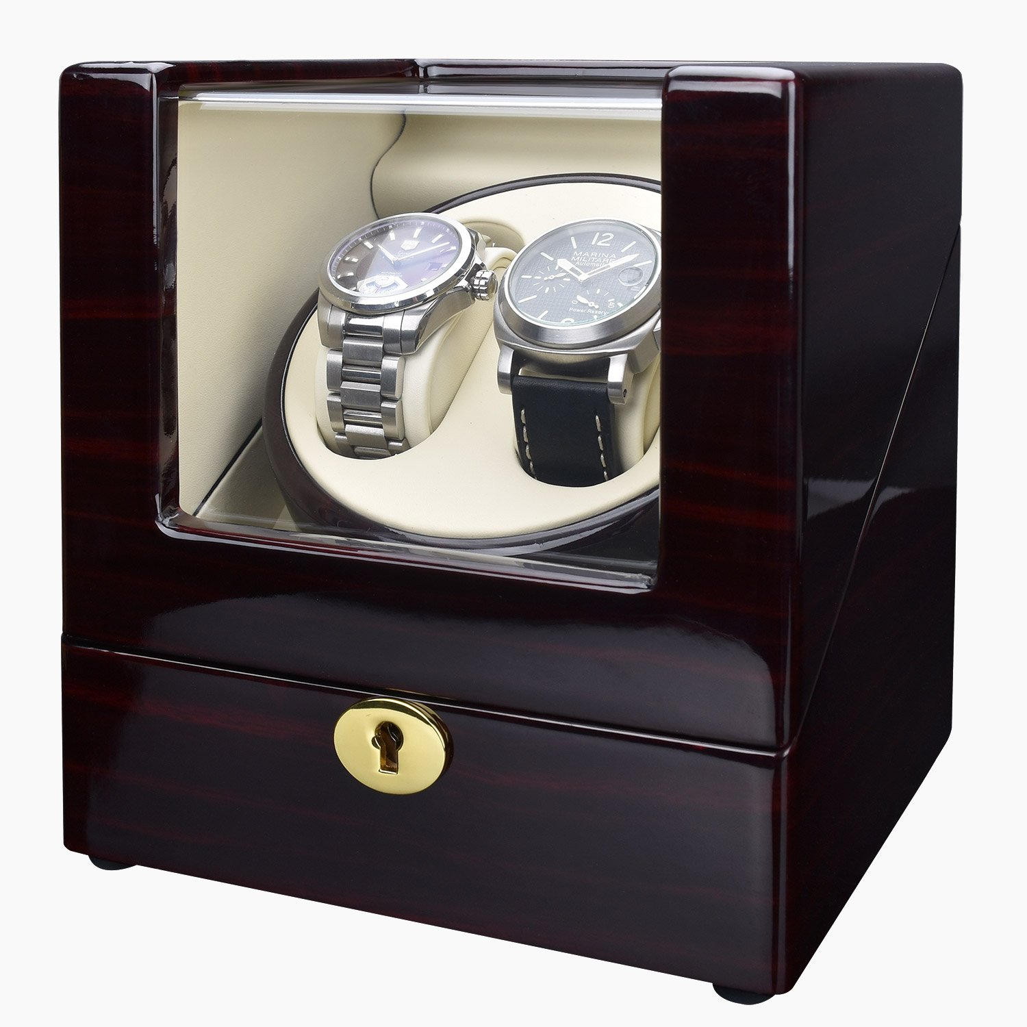 Zeiger Luxury Double Watch Winder Box Case with Quiet Automatic Japanese Mabuchi Motor s006