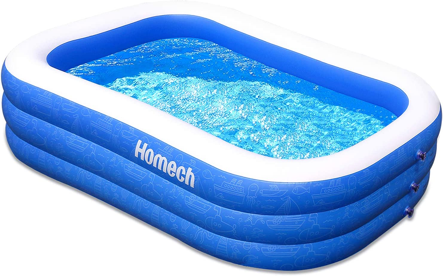 Homech Family Inflatable Swimming Pool 118 X 72 X 22 Full Sized Inflatable Lounge Pool For Baby Kiddie Kids Adult Infant Toddlers For Ages 3 Outdoor Garden Backyard Summer Water Party Toys