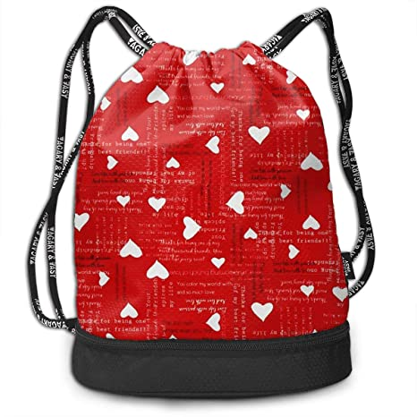 09334a9b3219 Heart Pattern Backpack With Drawstring Ad t