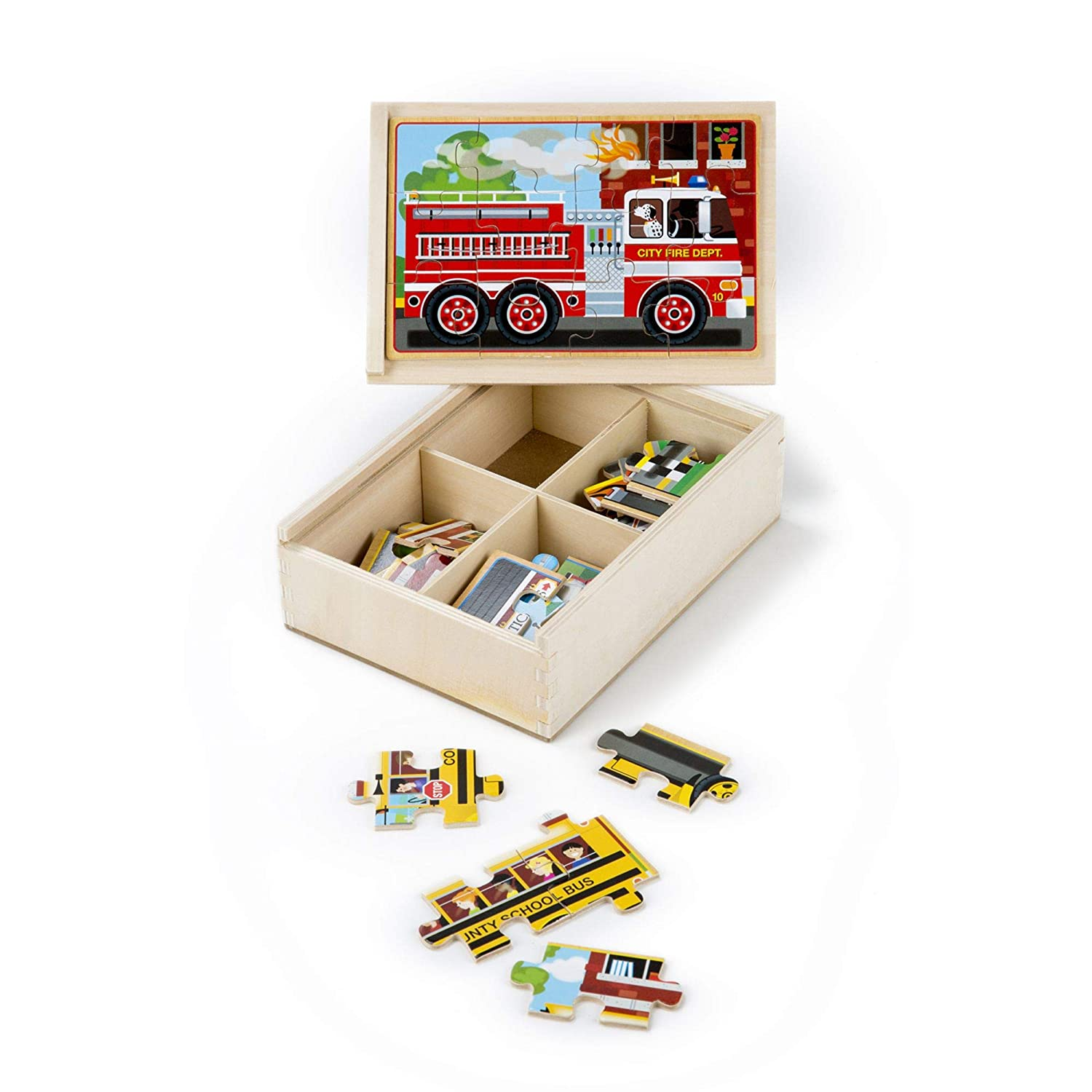"""Melissa & Doug Vehicles Jigsaw Puzzles in a Box, Four Wooden Puzzles, Sturdy Wooden Storage Box, 12-Piece Puzzles, 8"""" H x 6"""" W x 2.5"""" L"""