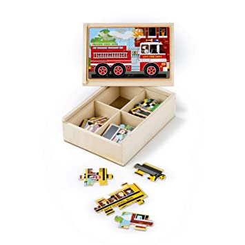Amazon Com Melissa Doug Vehicles Jigsaw Puzzles In A Box Four