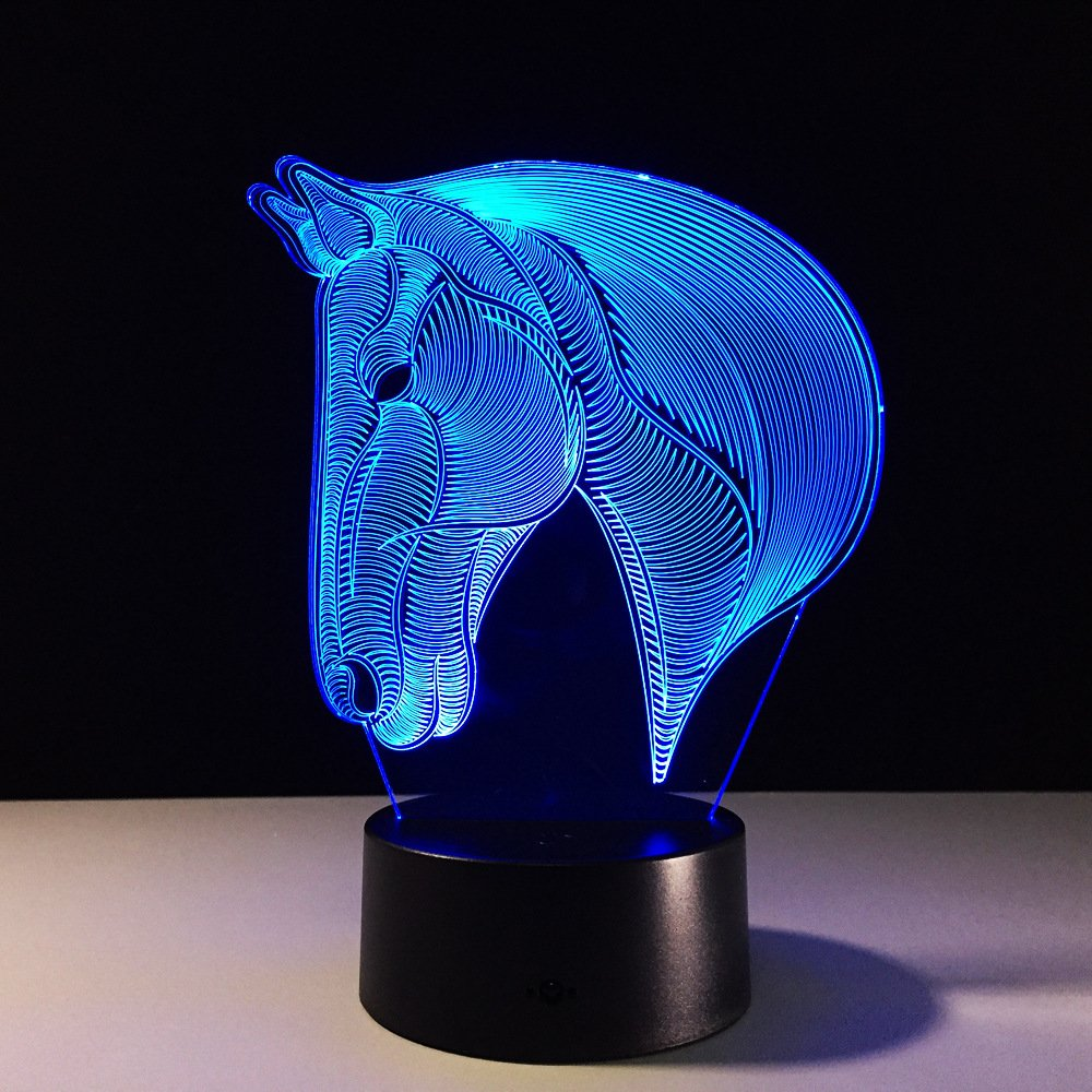 Wiscky 3D Electric Night Lights for kids, Children Night Lamp, Horse Toys for Boys, 7 LED Colors Changing Lighting, Table Desk Bedroom Decoration, Cool Gifts Ideas Birthday Xmas for Baby Boys Girls