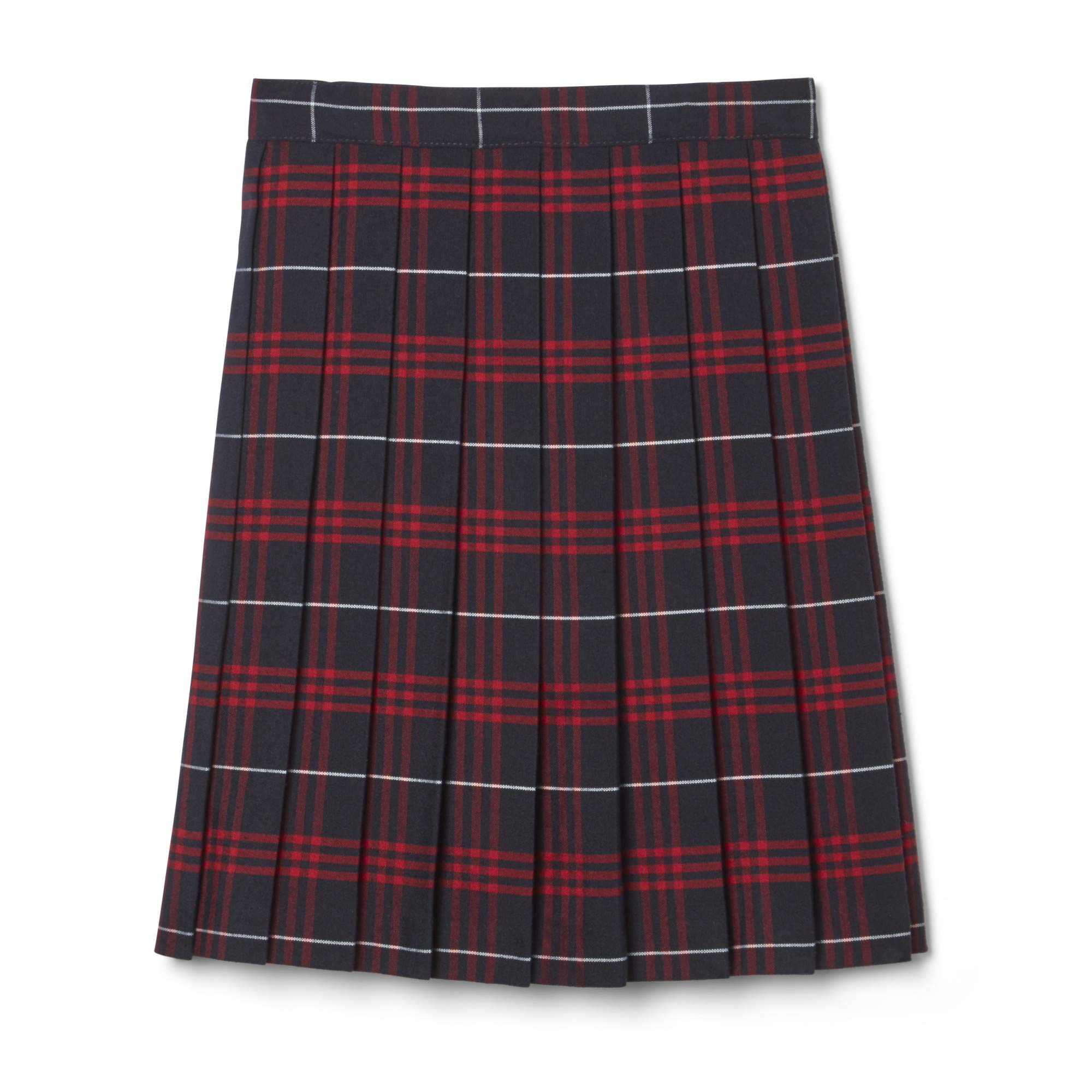 French Toast Big Girls' Plaid Pleated Skirt, Navy/Red, 7