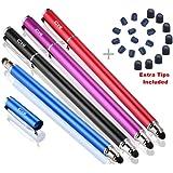 B & D 4 Stück Eingabestift Stylus Touch Pen für Apple iPad,iPhone,Tablet,Samsung (Schwarz / Blau / Violett / Rot)