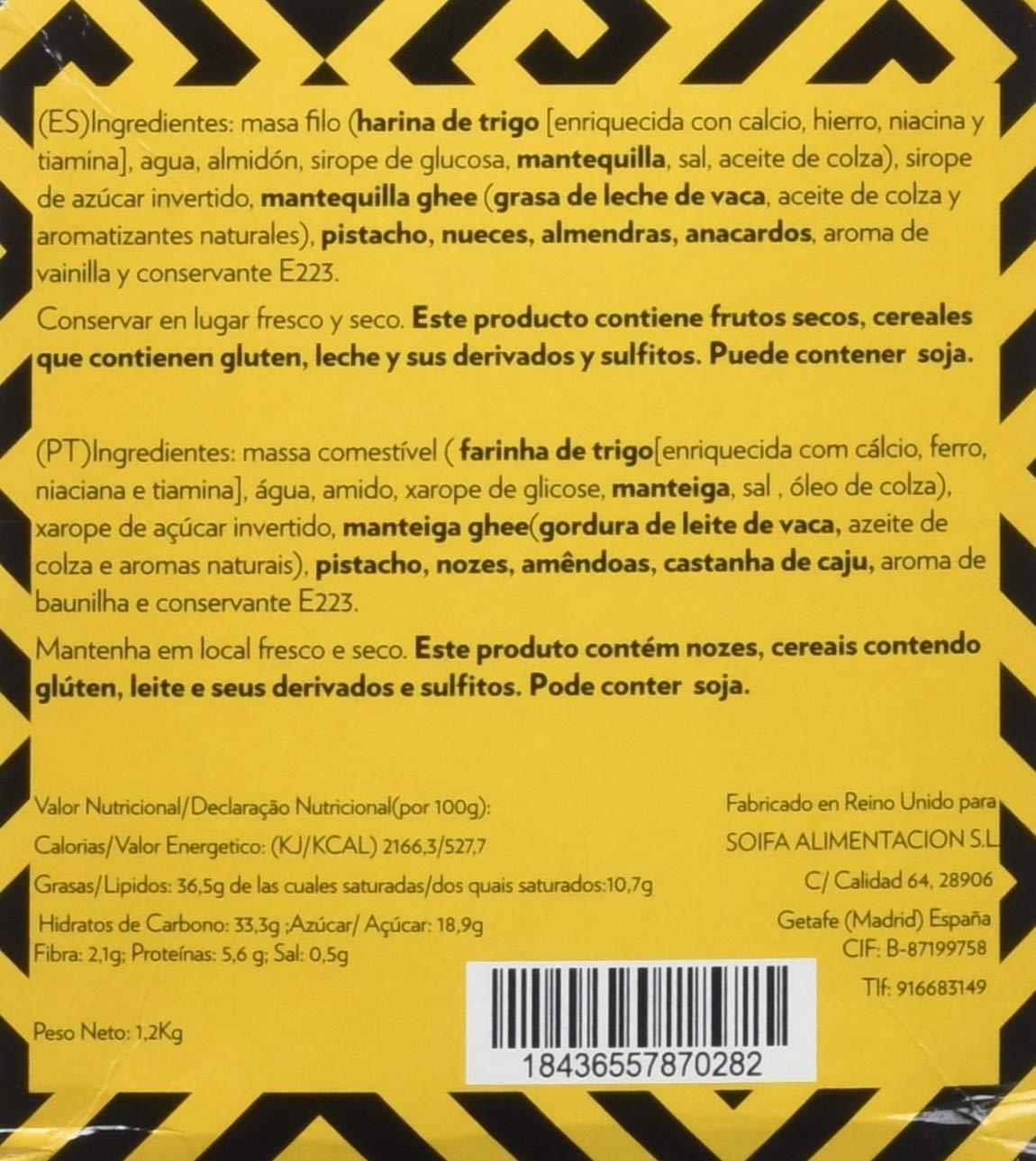 Taste Shukran, Baklawa Snack Surtido de dulce - 20 Snack (c/u 3 pasteles) de 60 Gr - Total 1200 gr: Amazon.es: Alimentación y bebidas