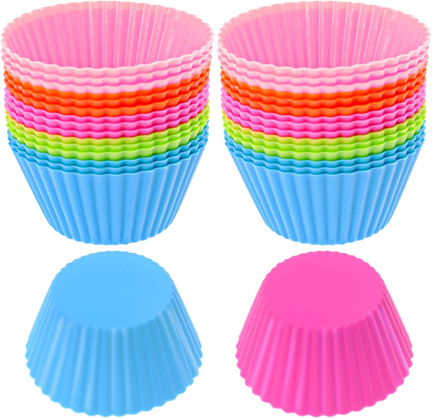 STSUNEU 36pcs Nonstick Silicone Baking Cups, 2.7Inch Reusable Food Grade Silicone Cupcake Liners Holders Resusable Silicone Muffin Cups Liners