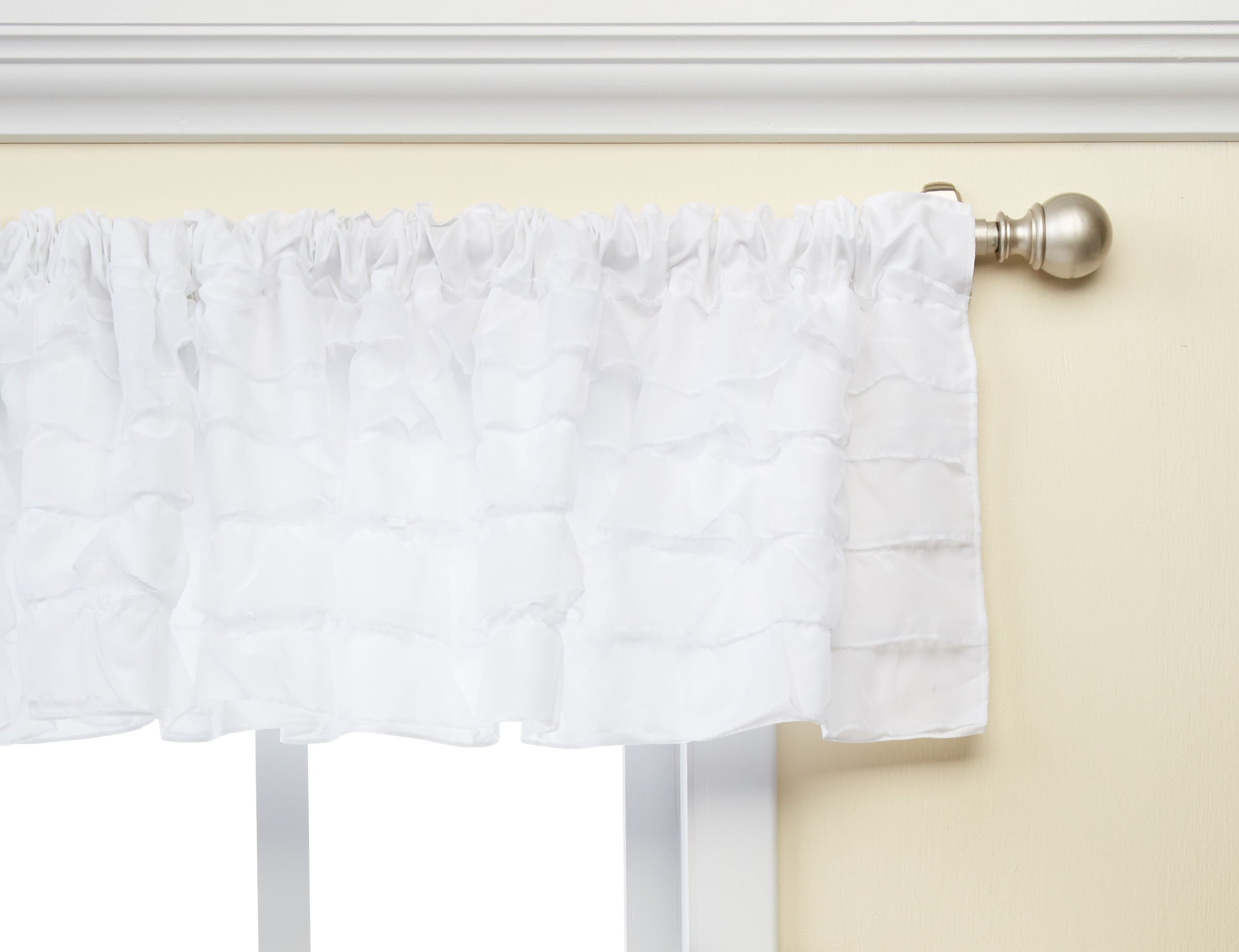 Baby Doll Bedding Layered Window Valance, White