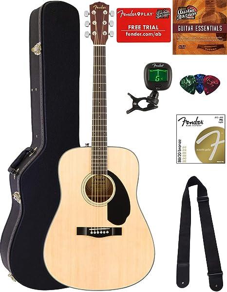 Fender CD-60 Dreadnought Guitarra Acústica Paquete con funda rígida, soporte para guitarra,