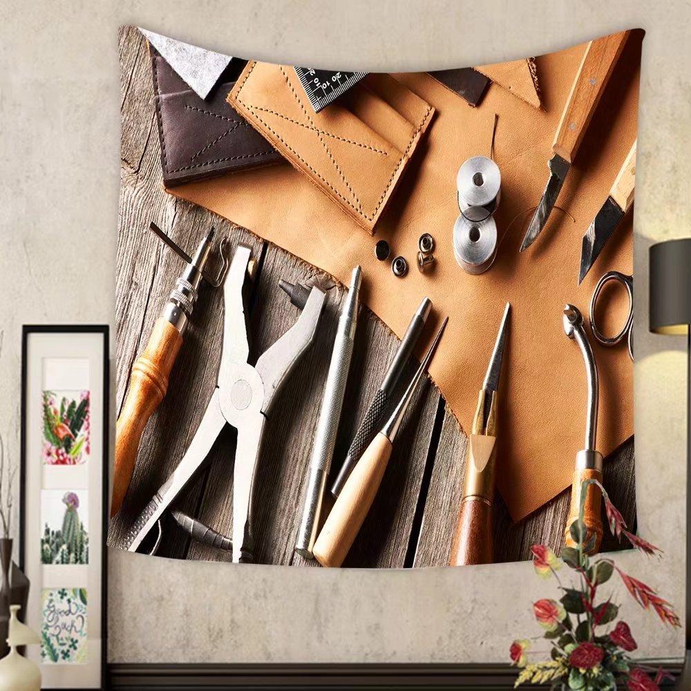 Madeleine Ellis Custom tapestry leather crafting tools still life