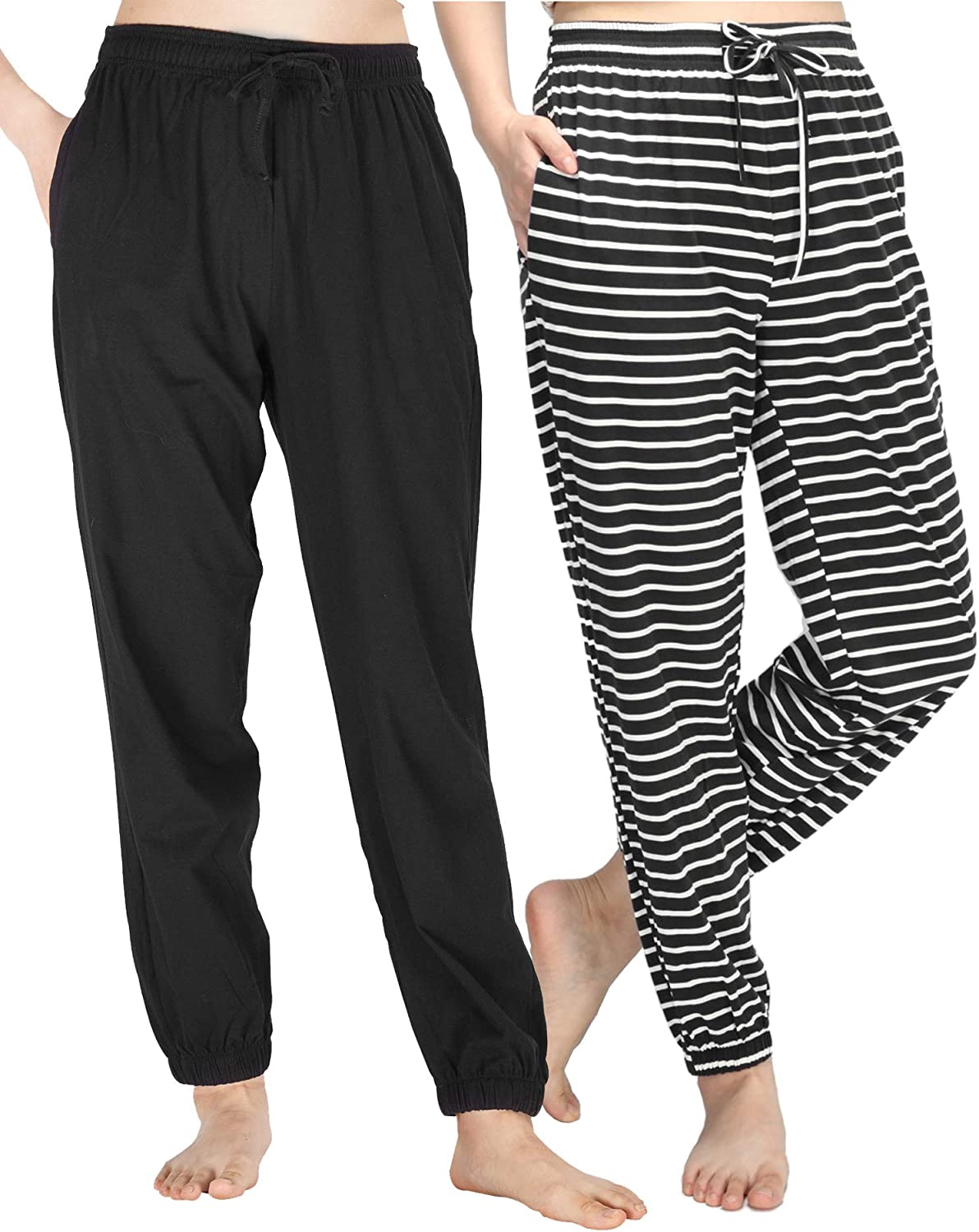 WEWINK CUKOO Pajama Bottoms Women Cotton Stretchy Sleep Lounge Pants with Pockets