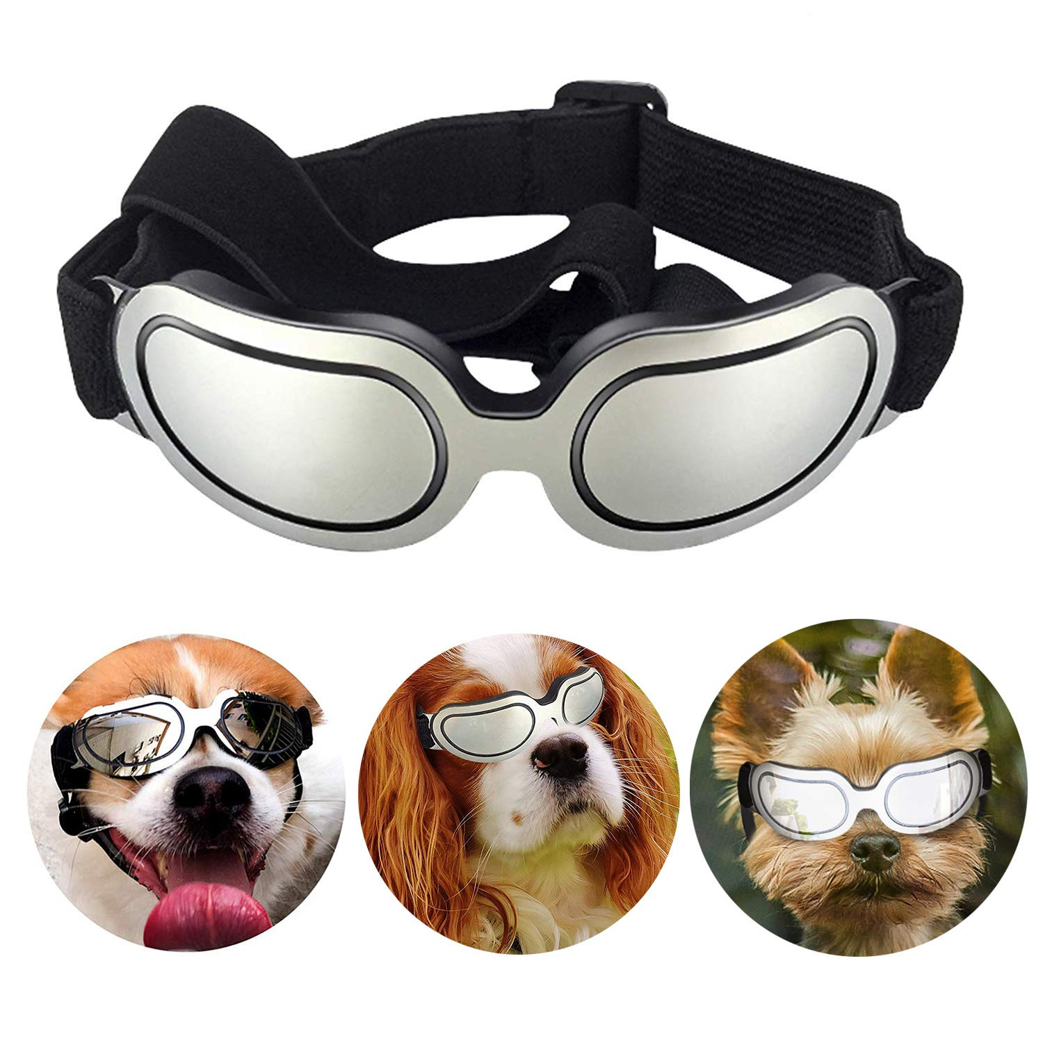 Loggipet Dog Sunglasses Pet Goggles Eyewear UV Protection Waterproof Pet Sun Glasses Adjustable Strap for Dogs Puppies Cats
