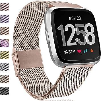 Hamily Compatible para Fitbit Versa Correa/Fitbit Versa Lite Edition, Metal Repuesto Correa con Fuerte Magnético Cierre para Fitbit Versa Smartwatch, Grande Champán: Amazon.es: Deportes y aire libre