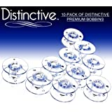 Distinctive 10-Pack of Style SA-156 Premium Sewing Machine Bobbins Made to Fit Brother Sewing Machines