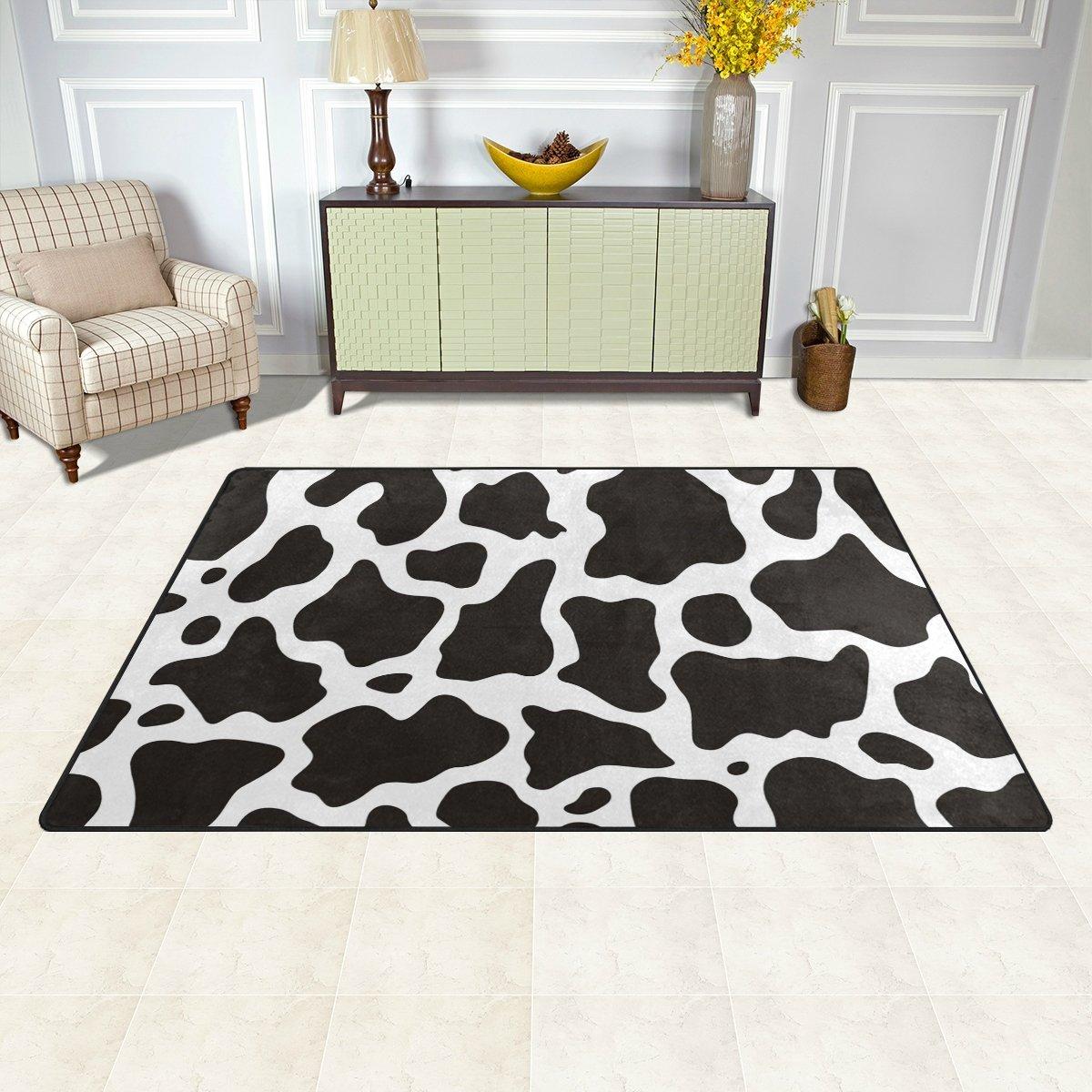 WellLee Area Rug,Black White Cow Skin Print Floor Rug Non-Slip Doormat for Living Dining Dorm Room Bedroom Decor 31x20 Inch