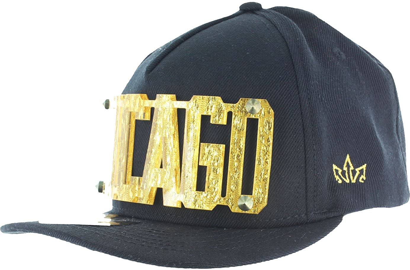 f398d37fd9e 3D Letters Snapback Bling Collection - CHICAGO Plate Hip-Hop Hat Plaque  Black Gold at Amazon Men s Clothing store