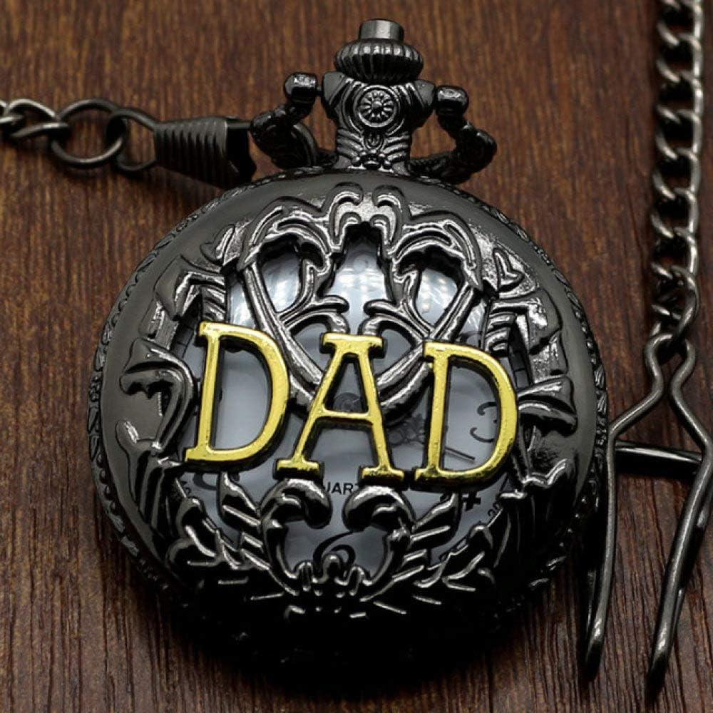 STEDMNY Reloj de Bolsillo Moda Negro Hollow Goden Dad Father Puppy Daddy Grandpa'S Gift Reloj de Bolsillo con Collar de Cadena