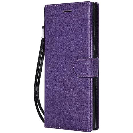 DENDICO Funda Sony Xperia L1, Flip Libro Cuero Carcasa, Diseño Clásico Funda Plegable Cover para Sony Xperia L1 - Púrpura