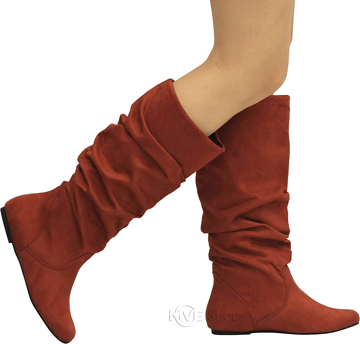 VEGAN Leather Womens Ladies High Calf Wedge Heel Boots Comfy Winter Wedges Size