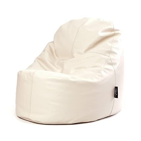 MiPuf - Puff Lounge Original - 80x115x90 cm - Tejido Polipiel Alta Resistencia - Doble Costura y Doble Cremallera - Relleno Incluido - Beige - 4 años ...