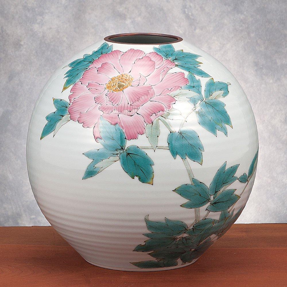 九谷焼 陶器 花瓶 牡丹 AK5-1335 B071WWY6GG