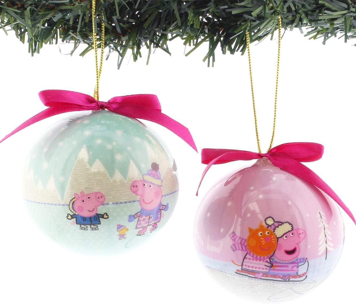 Amazon.com: Peppa Pig – Kurt Adler 2 piezas decoupage Ball ...