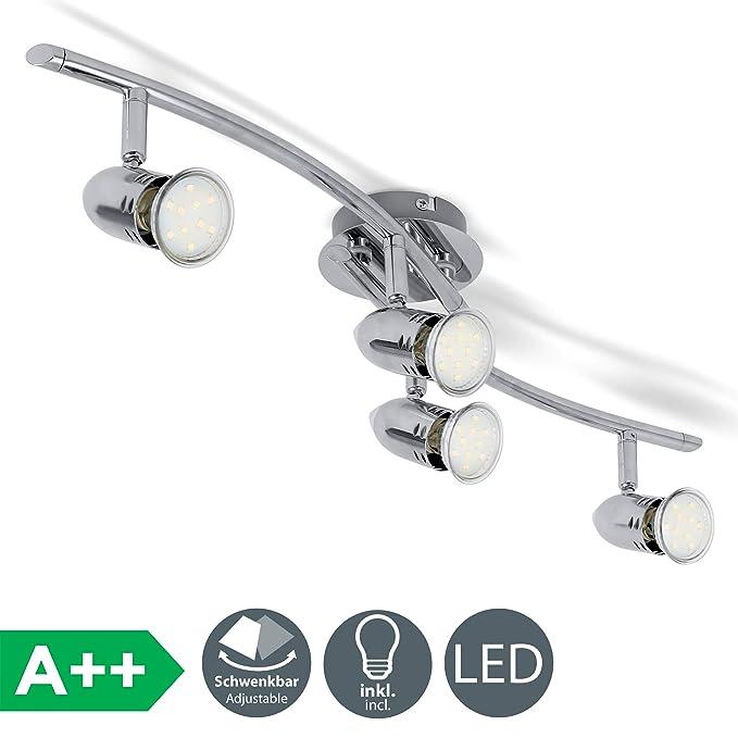 Lámpara de techo con focos giratorios incl. 4 bombillas LED de 3W GU10 230V, Luz blanco cálido 3000K 250lm, Color cromo, Metal, IP20