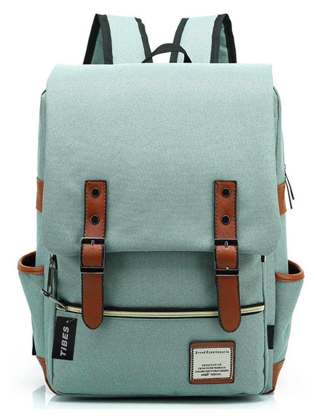 Tibes Cool Style Daypack School Backpack Oxford Fabric Backpack for High School/College Student Light Green 111beibao41-qianlvse